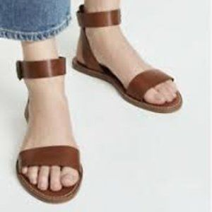 Madewell Brown Leather Boardwalk Ankle 8.5 Sandals